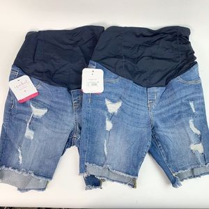 2 Pairs Isabel Maternity Distressed Jeans Shorts